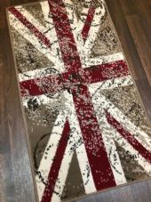 Modern Rugs Approx 4x2ft 60x110cm Woven Back Nice Design Stamped Union Jack Red
